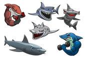愤怒的灰色、 白色和锤头鲨鱼卡通人物 — 图库矢量图片