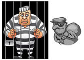 Cartoon prisoner in jail and robber in mask — Stock Vector