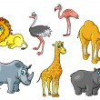 Cartoon african wild animals and birds characters — Stock vektor #70746463