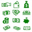Green paper money and coins icons — Stock Vector #70746515