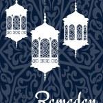 Ramadan Kareem greeting card with oriental lanterns — Stock Vector #70746581