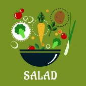 Cooking salad design with vegetables and condiments — Stock Vector