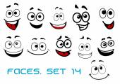 Cartoon faces with happiness and joyful expressions — Stock Vector