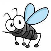 Funny smiling gray mosquito cartoon character — Stock Vector