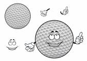 Smiling cartoon dimpled white golf ball character — Stock Vector