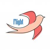 Nimble pink swallow in flight — Stock Vector