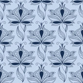 Airy lace indian blue floral seamless pattern — Stock Vector