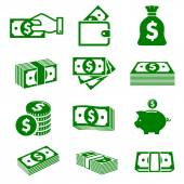 Green paper money and coins icons — Stock Vector