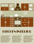 Modern brown kitchen interior design — Stock Vector