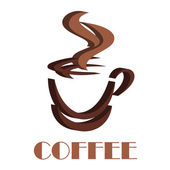3D steaming coffee cup symbol — Stock Vector
