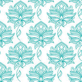 Seamless persian outline blue flowers pattern — Stock Vector