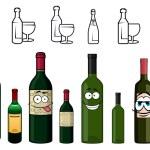 Cartoon characters of wine bottles in various design — Stock Vector #71362151