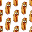 Funny hot dog characters seamless pattern — Stock Vector #71362209