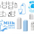 Milk packages cartoon characters with design elements — Cтоковый вектор #71362317