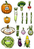 Colorful happy garden vegetables cartoon characters — Stock Vector