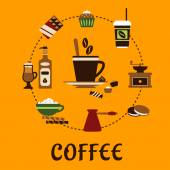 Coffee drinks and desserts flat icons — Stock Vector
