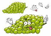 Cartoon green grape bunch character — Stock Vector