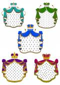 Colorful ceremonial royal mantles and crowns — Stock Vector