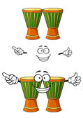 Cartoon african wooden djembe drum character — Vetor de Stock