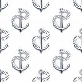 Retro ship anchors seamless pattern with twisted rope — Stockvektor