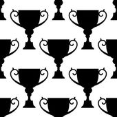 Trophy cup silhouettes seamless pattern — Stock Vector