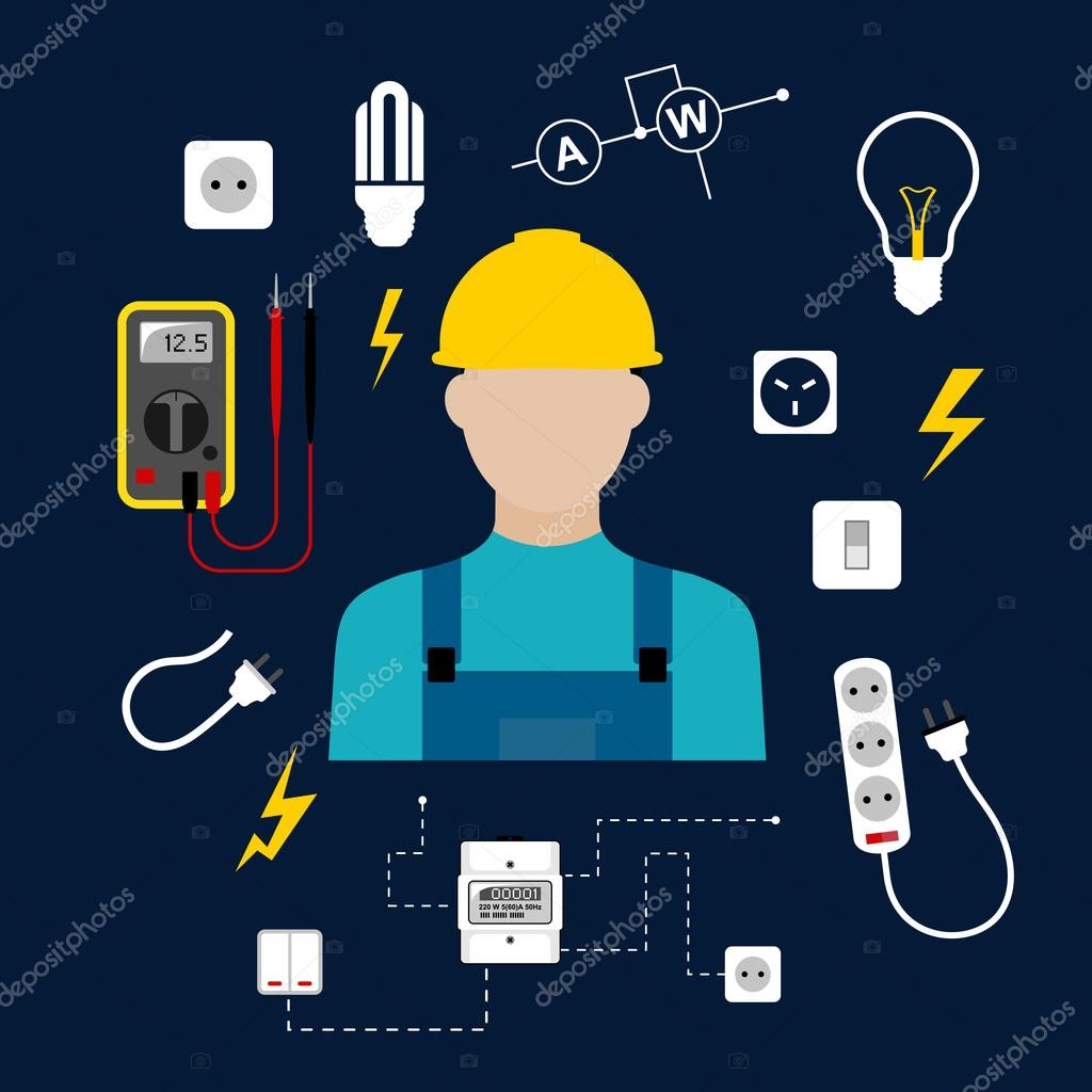 Eletricista Profissional Com Ferramentas El Tricas E Equipamentos Vetor De Stock Seamartini