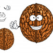 Smiling happy whole walnut character — Stock Vector #71912821