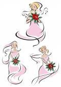 Pretty pink feminine sketches of a bride — Stock Vector