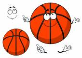 Smiling cartoon basketball ball with a cute grin — Stock Vector