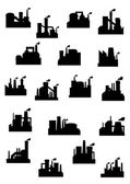 Industrial factories and refineries icon set — Stock Vector