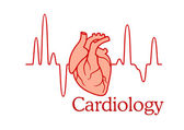 Cardiology concept with an ECG and heart — Stock Vector