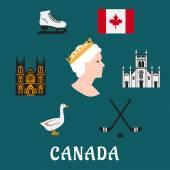 Símbolos e ícones planas de viagem Canadá — Vetor de Stock