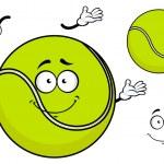 Smiling green cartoon tennis ball — Stock Vector #72540801