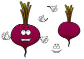 Happy cartoon beetroot vegetable character — Stock Vector