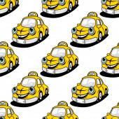 Tecknad taxi karaktär seamless mönster — Stockvektor