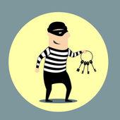 Burglar carrying a bunch of keys — Stock Vector