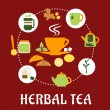 Herbal tea flat infographic design with icons — Stock Vector #73617985