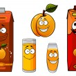 Apricot juice containers, glasses and fruit cartoon characters — Stock Vector #73618471