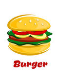 Burger with meat fresh vegetables on bun — Stock Vector