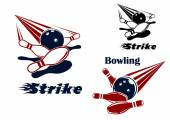 Bowling strike emblems with balls and ninepins — Stock Vector