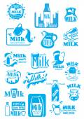 Milk blue labels and icons with splashes — Stock Vector