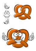 Happy cartoon bavarian crispy pretzel — Stock Vector