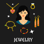 Woman with jewels and gold in flat style — ストックベクタ