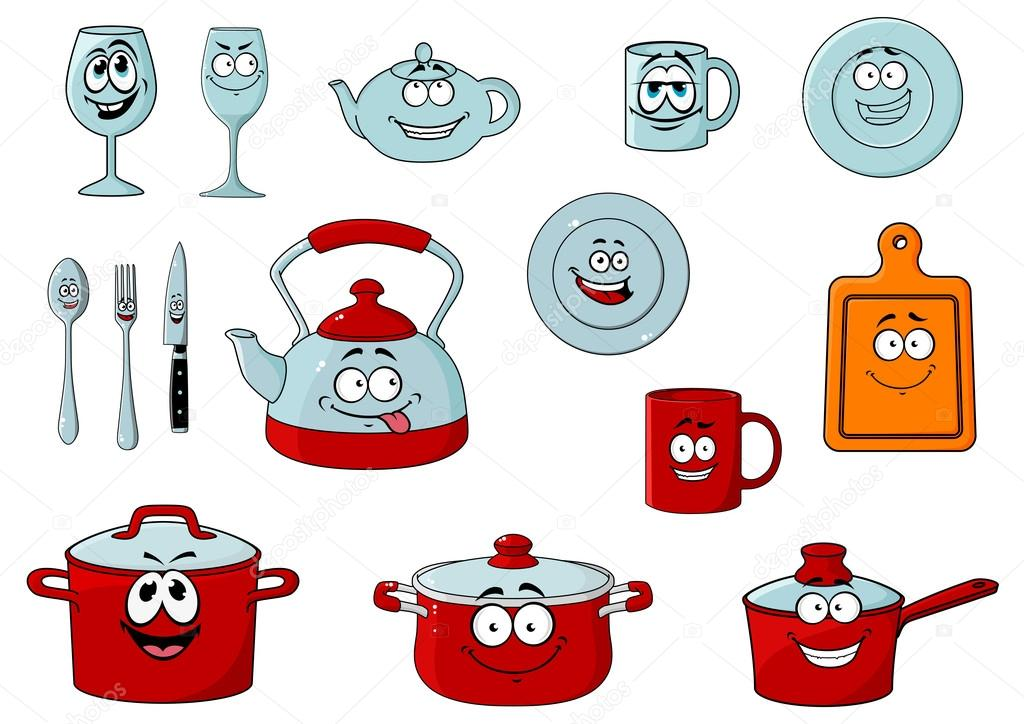 Dibujos animados personajes sonrientes de utensilios de for Enseres de cocina