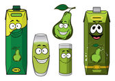 Green pear fruit and juice drink characters — Stock Vector
