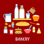 Bakery concept with dough ingredients — Stock Vector