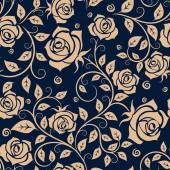 Medieval seamless pattern with roses — Stok Vektör