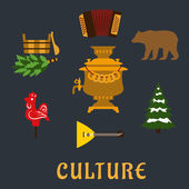 Russian culture flat icons set — Stock Vector