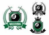Eight ball billiards or pool emblem — Stock Vector