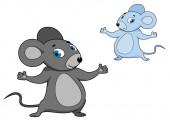 Süße Mäuschen grau cartoon — Stockvektor